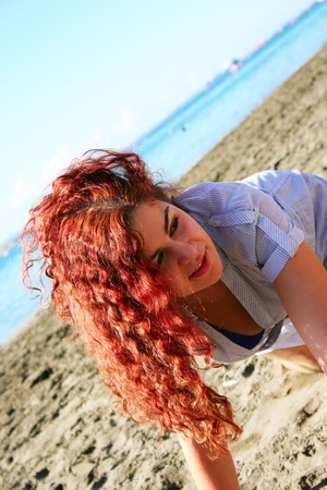 Pretty woman on beach in Limassol, Cyprus. Stock Photo - 16521083