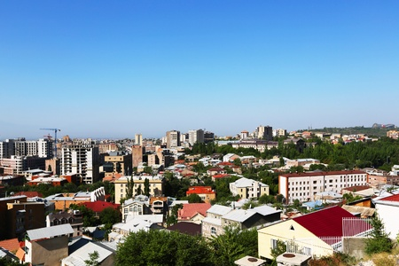 Yerevan city view from altitude. Stock Photo - 16850219