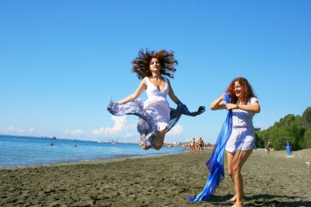 Two women on beach in Limassol, Cyprus  photo