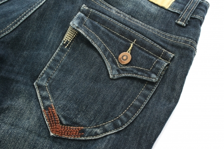 Blue jeans on white background. photo