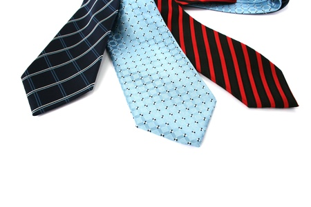 Colorful neckties isolated on white background. photo