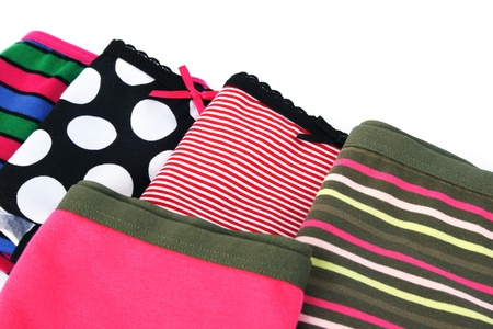 undies: Colorful panties isolated on white background.