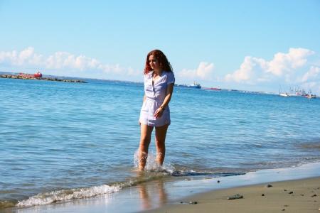 limassol: Pretty woman on beach in Limassol, Cyprus.