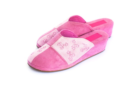 Pink slippers  isolated on white background. photo