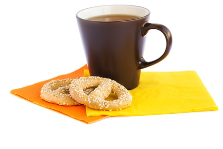 Cup of tea and rusks isolated on white background. Stock Photo - 18154515