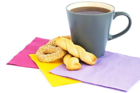 Cup of tea, cookies  and rusks  isolated on white background. Stock Photo - 18175289