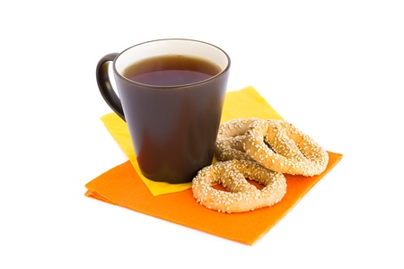 Cup of tea and rusks isolated on white background. Stock Photo - 18308314