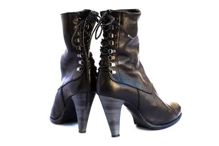 Black shoes isolated on white background. photo