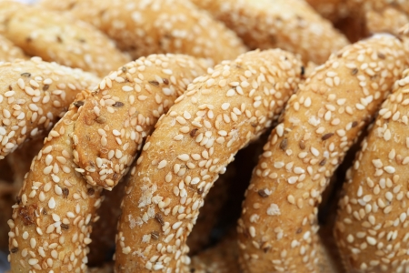 Round rusks with sesame seeads, closeup picture.