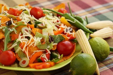 nacho chip: Heap of nachos with vegetables on green plate.