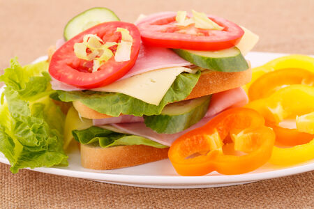 Sandwiches with rusks, vegetables, bacon and cheese on plate. photo