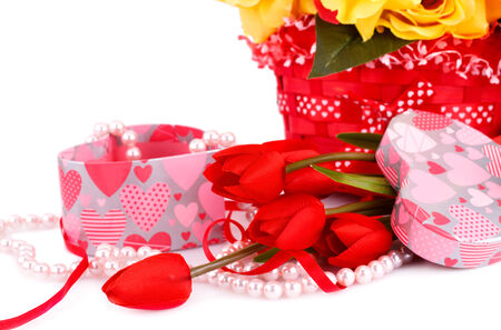Colorful flowers, candles and gift box close up picture. photo