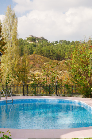 garden settlement: Swimming pool at holiday villa in Cyprus.