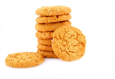 nutritiously: Stack of round cookies isolated on white background. Stock Photo