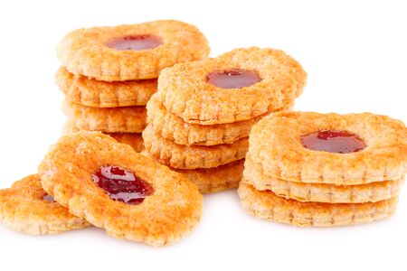 nutritiously: Sweet cookies with jam on gray plate on white background.