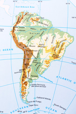 terrain: South America physical map with labeling.
