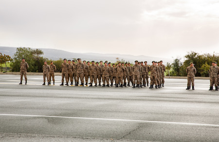 cypriot: Paphos, Cyprus - January 30, 2015 - Young Cypriot soldiers on a military Oath day in army.