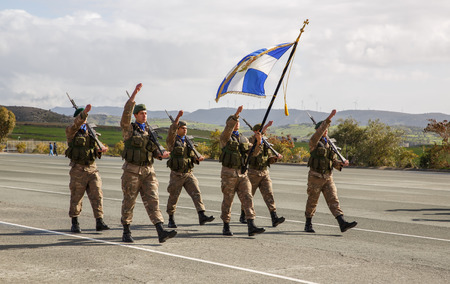 an oath: Paphos, Cyprus - January 30, 2015 - Young Cypriot soldiers on a military Oath day in army.