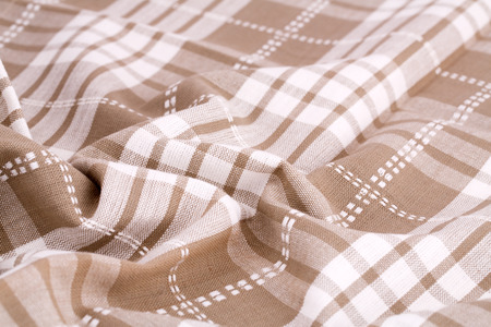 dishcloth: Striped tablecloth texture as a background, closeup picture. Stock Photo