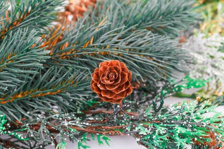 firtree: Christmas decoration with fir-tree branch and cones.
