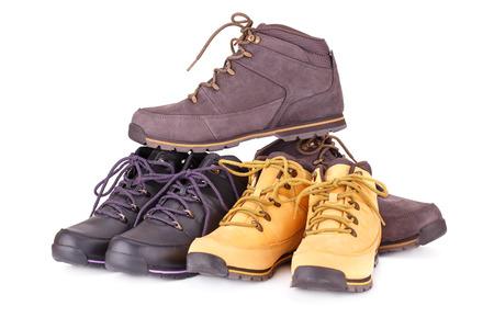 Stylish boots isolated on white background.