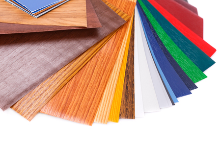 Wood coating color samples closeup picture. Stock Photo