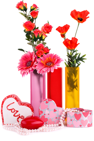 Flowers In Vases Red Heart Candle Necklaces Gift Boxes Isolated