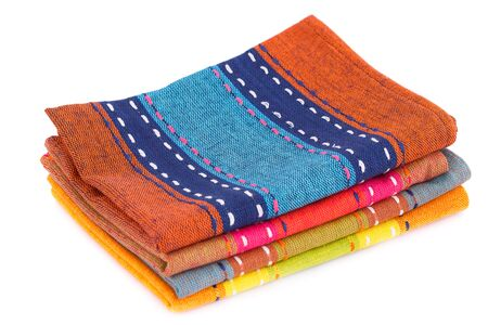 Colorful kitchen towels isolated on white background. Stock Photo