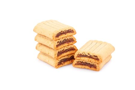 nutritiously: Sweet cookies with jam isolated on white background.
