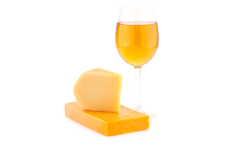 Two pieces of cheese and glass of wine isolated on white background. Stock Photo