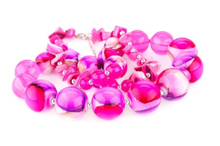 personal ornaments: Necklace with beads isolated on white background. Stock Photo