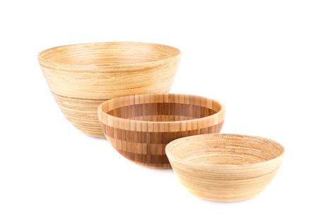Empty bamboo bowls isolated on white background. photo  sc 1 st  123RF.com & Empty Bamboo Bowl And Plates Isolated On White Background. Stock ...