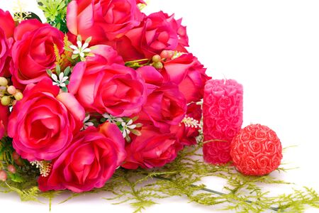 glass heart: Candles, roses and glass heart  isolated on white background. Stock Photo