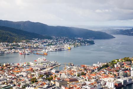 Top view of Bergen city in Norway.