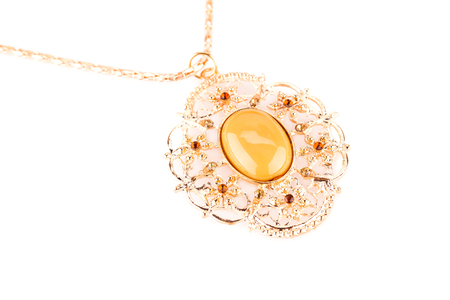 Ancient style necklace isolated on a white background. Stock Photo