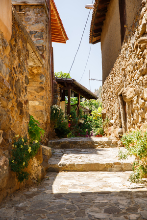 Old houses in Kakopetria village, Cyprus. Stock Photo