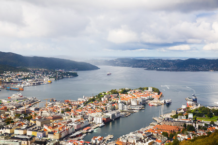 Top view of Bergen city in Norway.