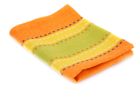 Colorful kitchen towel isolated on white background. Stock Photo