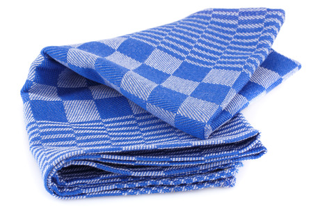 Blue kitchen towel isolated on white background.
