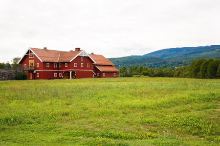 Big house in Norway village. Editorial