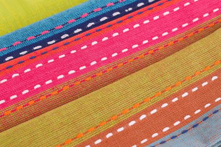 Colorful kitchen towels closeup picture.