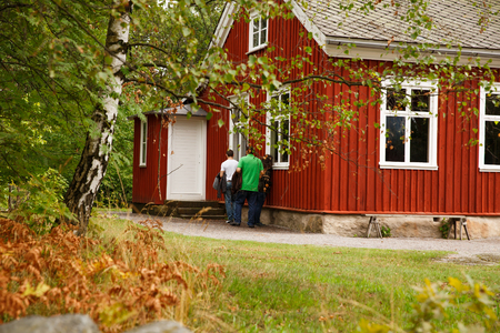 Traditional old wooden house at Skansen, the first open-air museum and zoo, located on the island Djurgarden.