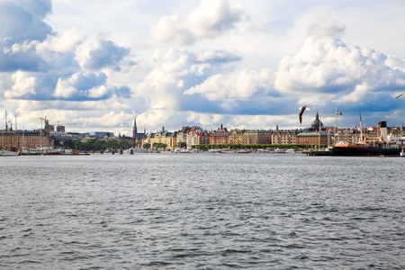 Stockholm old city with boats, view from sea. Stock Photo