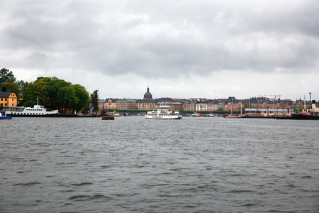 Stockholm, Sweden - August 11, 2014 - Old town view from Sodermalm district, rainy day.