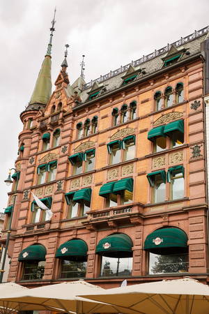 Oslo, Norway-August 14, 2014 - Building with ornaments on the wall in Norwegian capital.