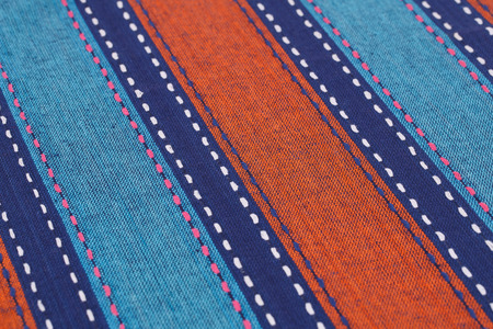 Striped tablecloth texture as a background, closeup picture. Stock Photo