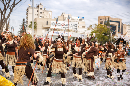 Limassol, Cyprus - March 13, 2016 - Unidentified participants during the carnival parade, established in 16th century, influenced by Venetian and Greek traditions. Editoriali