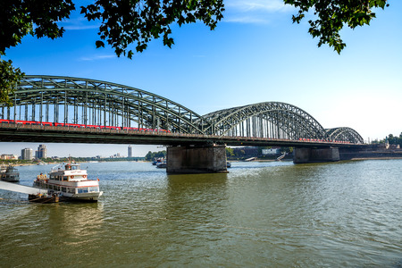 Hohenzollern bridge over the Rhine river in Cologne, Germany.