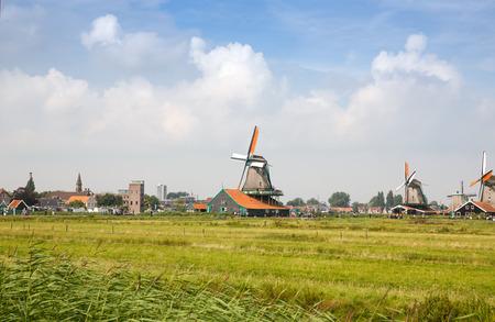 Zaanse Schans, Netherlands- Traditional, authentic dutch windmills at the river Zaam.