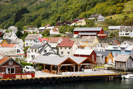 Undredal, Norway-August 16, 2014 -  Tourists and local people at Undredal village port. Editorial